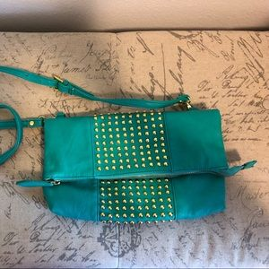 Charming Charlie teal & gold foldover crossbody